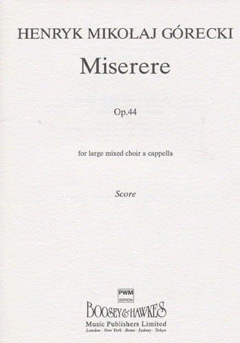 Henryk Mikolaj Gorecki - Miserere Opus 44 - Partition - di-arezzo.co.uk