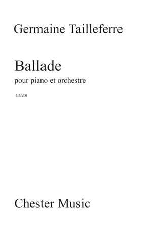 Germaine Tailleferre - Ballad. 2 Pianos - Partition - di-arezzo.co.uk