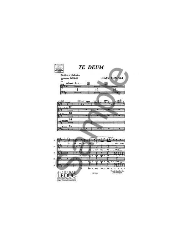André Campra - Te Deum. Chorus alone - Partition - di-arezzo.co.uk
