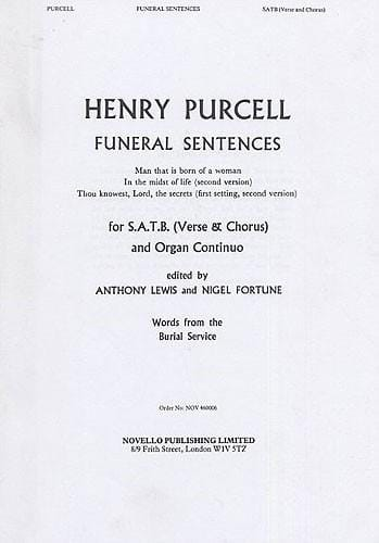 Henry Purcell - Funeral Sentences - Partition - di-arezzo.co.uk