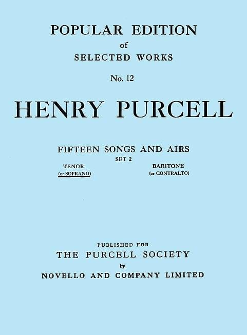 Henry Purcell - 15 Songs And Arias Volume 2 High Voice - Partition - di-arezzo.co.uk
