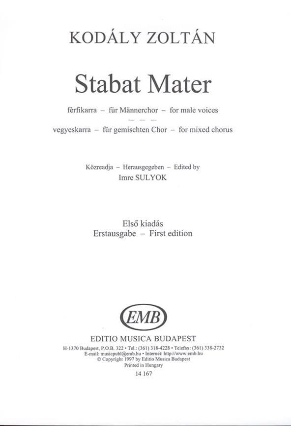 Stabat Mater - KODALY - Partition - Chœur - laflutedepan.com