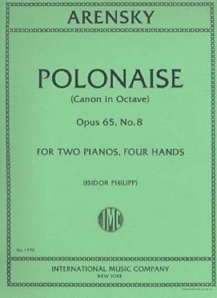 Anton Arensky - Polish Op. 65-8. 2 Pianos - Partition - di-arezzo.co.uk