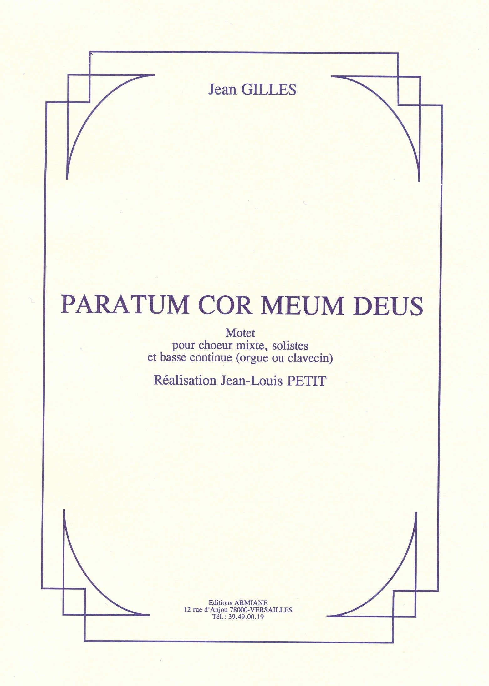 Paratum Cor Meum Deus - Jean Gilles - Partition - laflutedepan.com