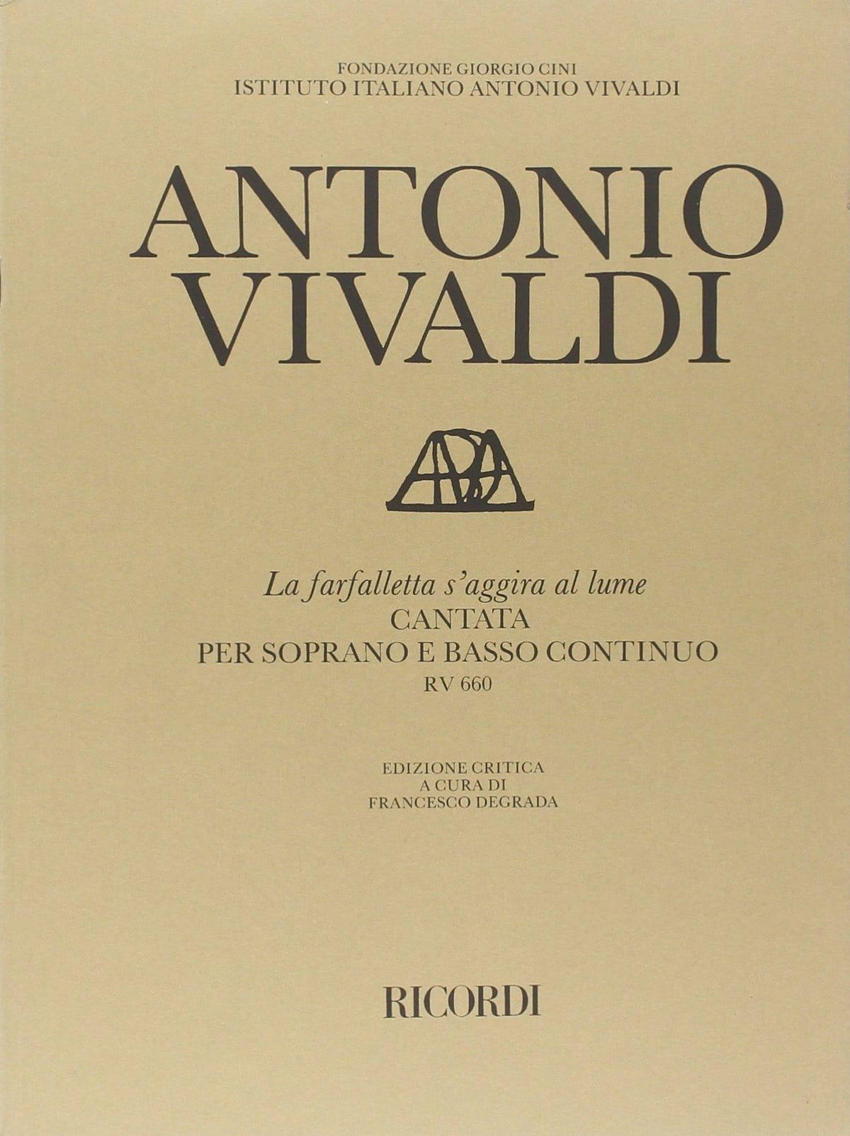 VIVALDI - The Farfalletta Regardgira Al Lume RV 660. - Partition - di-arezzo.co.uk