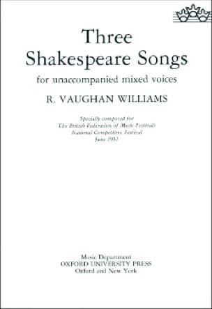 Williams Ralph Vaughan - 3 Shakespeare Songs - Partition - di-arezzo.com