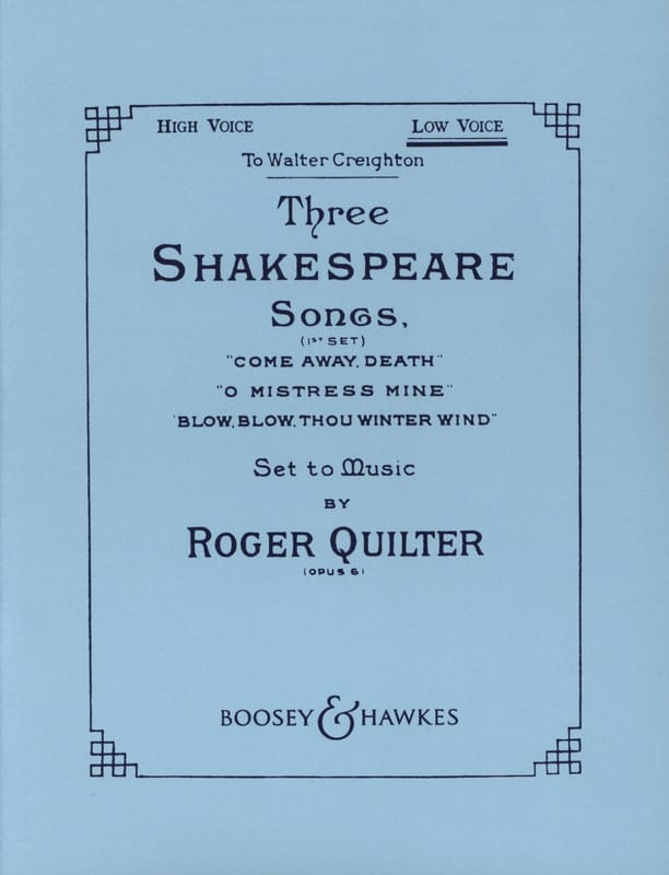 Roger Quilter - 3 Shakespeare Songs. Opus 6. Serious Voice - Partition - di-arezzo.com
