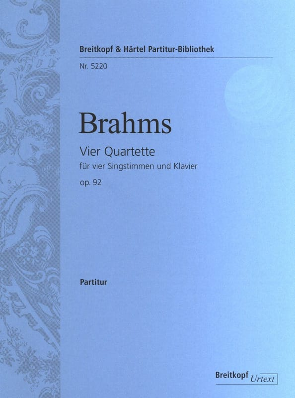 BRAHMS - 4 Quartet Opus 92 - Partition - di-arezzo.co.uk