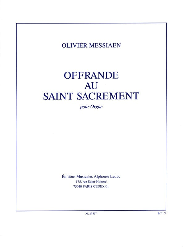 Olivier Messiaen - Offering to the Blessed Sacrament - Partition - di-arezzo.co.uk