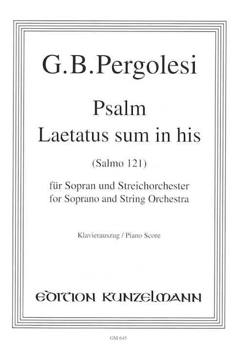 Laetatus Sum In His - PERGOLESE - Partition - laflutedepan.com