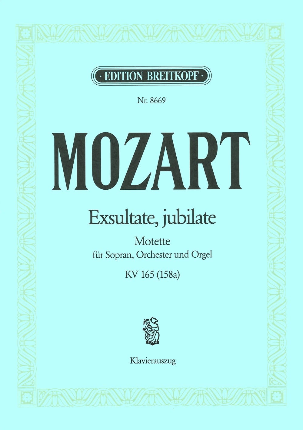 MOZART - Exsultate, Jubilate. Kv 165 158a - Partition - di-arezzo.co.uk