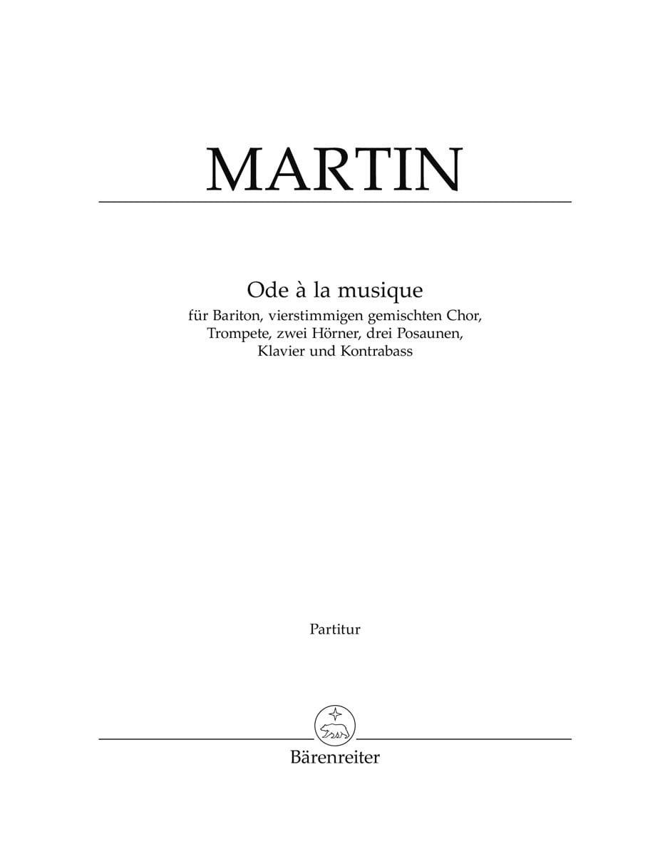 Ode A la Musique 1961. Conducteur - Frank Martin - laflutedepan.com