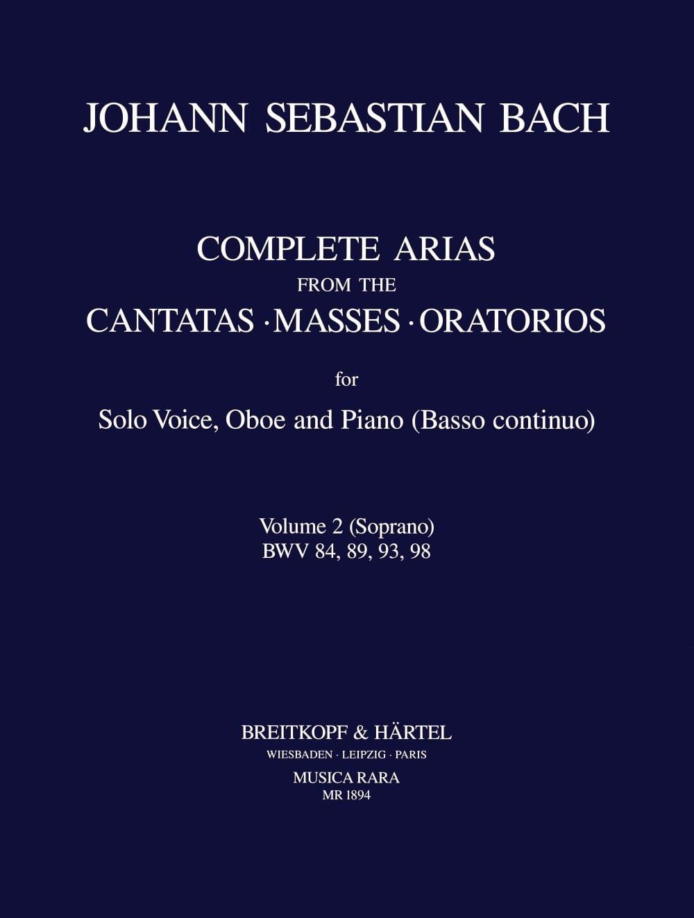 Complete Arias From The Cantatas-Masses-Oratorios Volume 2 Soprano - laflutedepan.com