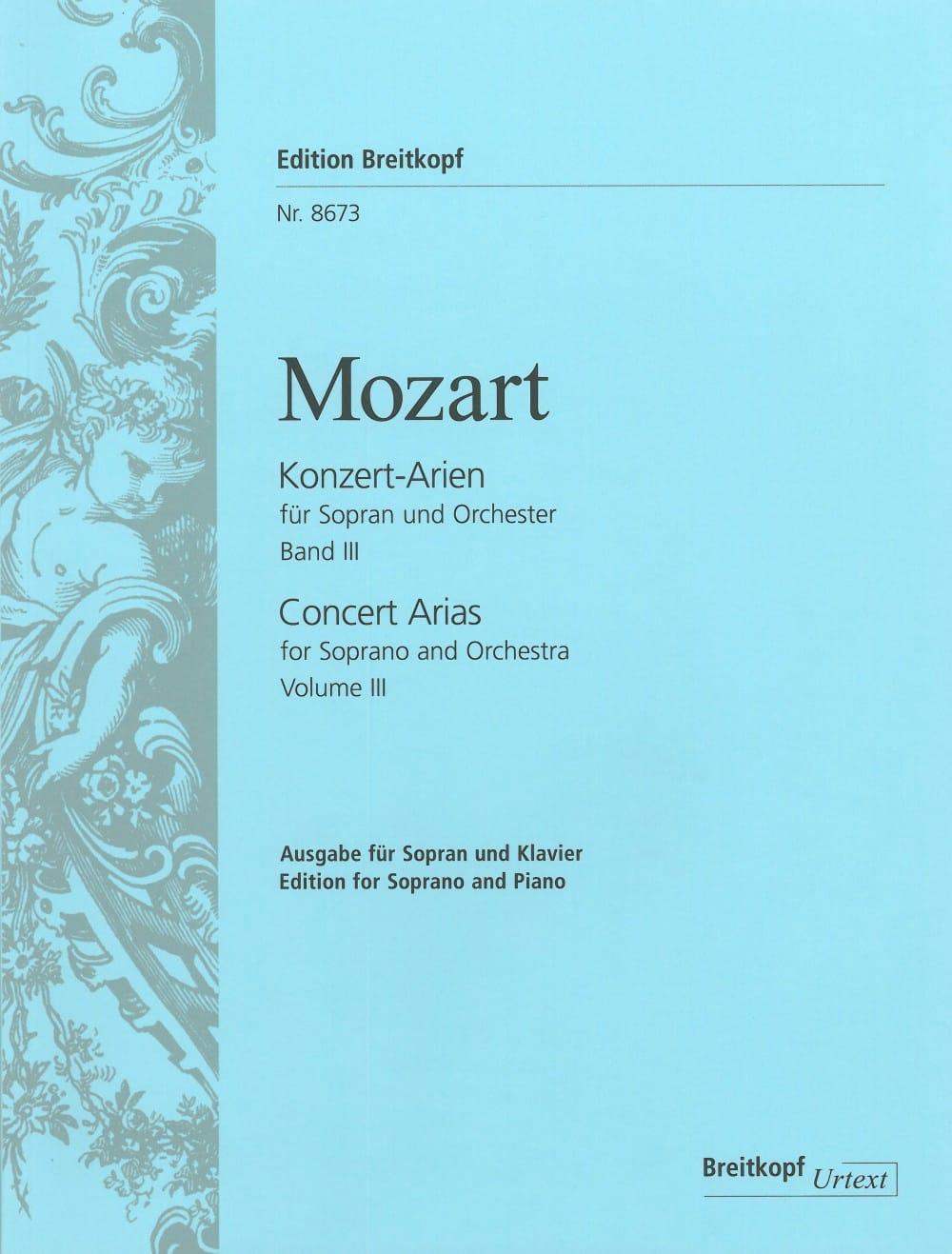Konzert Arien Soprano Volume 3 - MOZART - Partition - laflutedepan.com