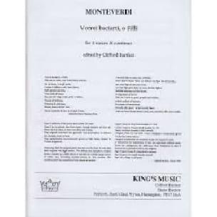 Claudio Monteverdi - Vorrei Baciarti, O Filli - Partition - di-arezzo.com