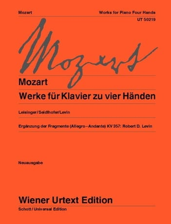 MOZART - Werke Fur Klavier Zu 4 Händen. 4 Hands - Partition - di-arezzo.co.uk