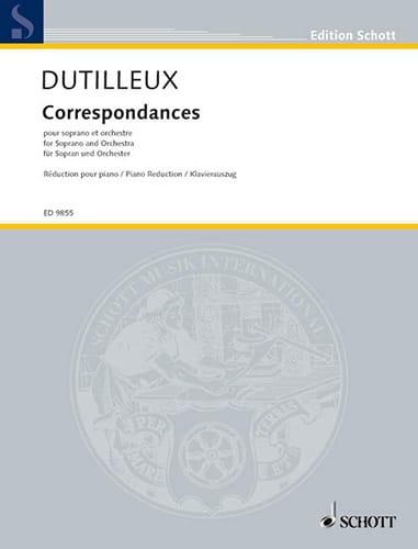 Correspondances. - DUTILLEUX - Partition - Mélodies - laflutedepan.com