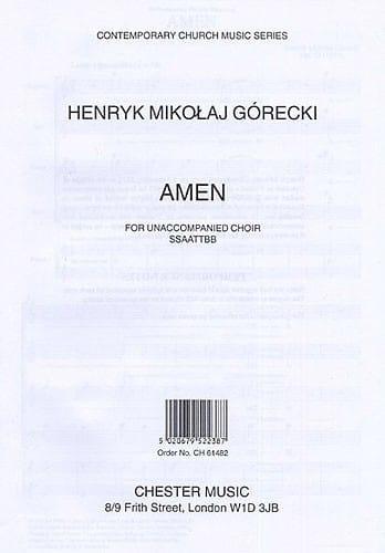 Henryk Mikolaj Gorecki - Amen Opus 35 - Partition - di-arezzo.co.uk