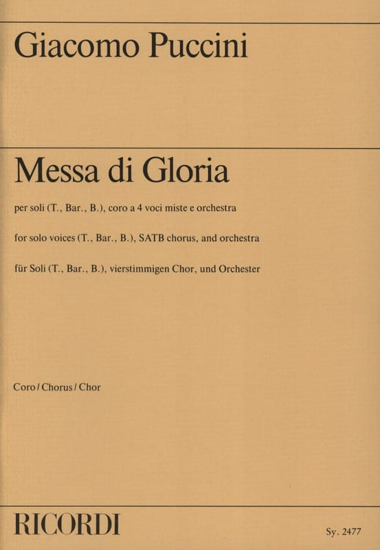 Giacomo Puccini - Missa Di Gloria. Choir - Partition - di-arezzo.com