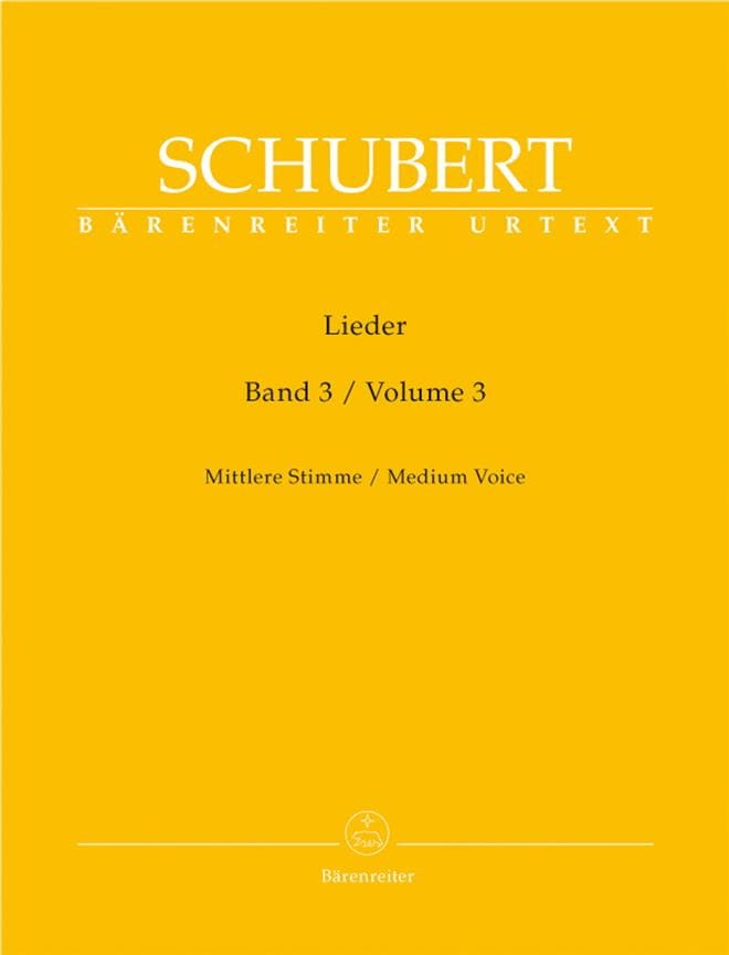 Lieder Volume 3. Voix Moyenne - SCHUBERT - laflutedepan.com