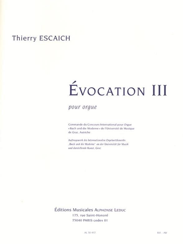 Thierry Escaich - Evocation 3 - Partition - di-arezzo.co.uk