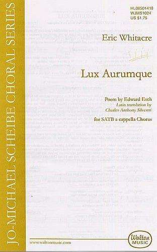 Eric Whitacre - Lux Aurumque - Partition - di-arezzo.co.uk