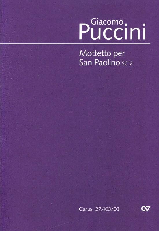Giacomo Puccini - Mottetto Per San Paolino Sc 2 - Partition - di-arezzo.com