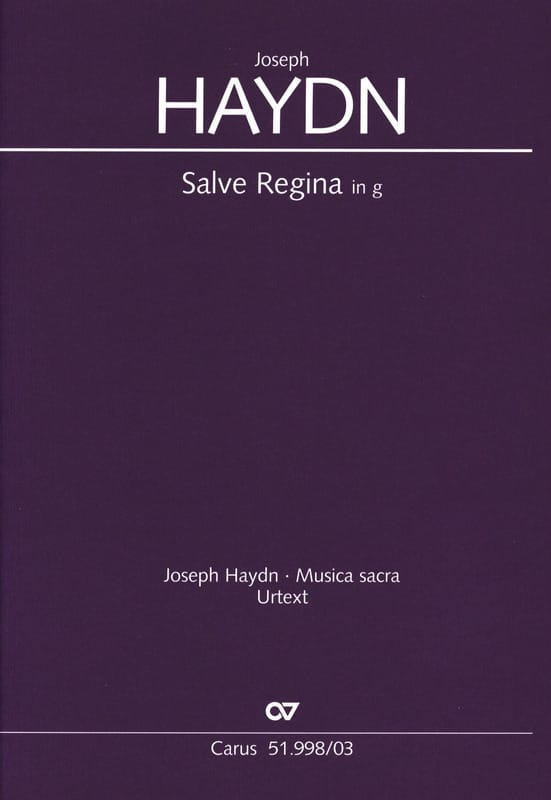 HAYDN - Salve Regina In Sol Minor Hob 23b-2 - Partition - di-arezzo.co.uk