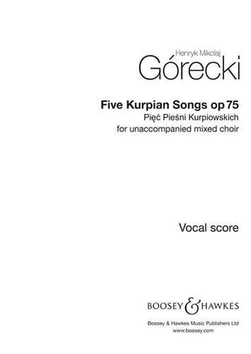 Henryk Mikolaj Gorecki - 5 Piesni Kurpiuwskich Op. 75 - Partition - di-arezzo.co.uk