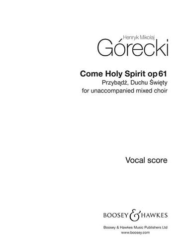 Henryk Mikolaj Gorecki - Przybadz, Duchu Swiety Op. 61 - Partition - di-arezzo.co.uk