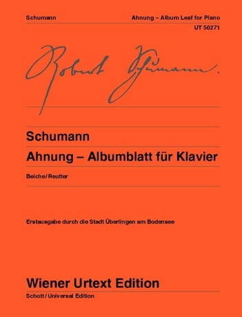 Ahnung - Albumblatt Für Klavier - SCHUMANN - laflutedepan.com