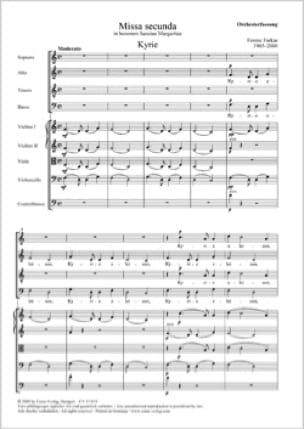 Missa Secunda. SATB - Ferenc Farkas - Partition - laflutedepan.com