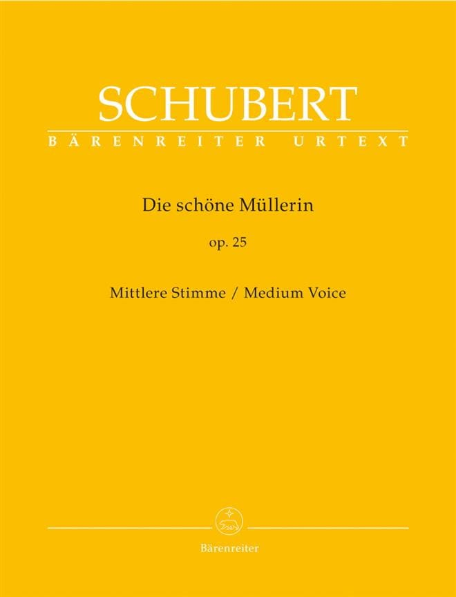 SCHUBERT - Die Schöne Müllerin Opus 25. Medium Voice - Partition - di-arezzo.co.uk