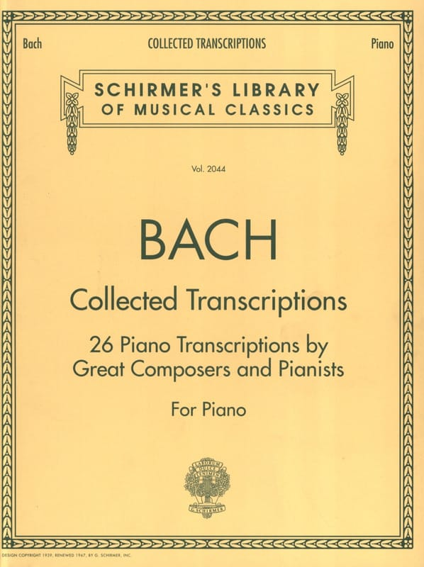 BACH - Collected Transcriptions - Partition - di-arezzo.co.uk