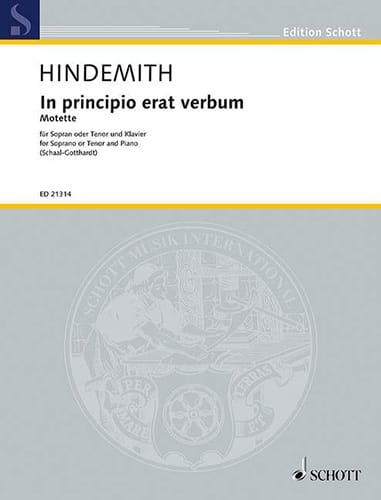 In Principio Erat Verbum - HINDEMITH - Partition - laflutedepan.com