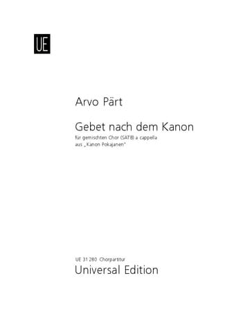 Arvo Pärt - Gebet nach dem kanon - Prayer after the Kanon - Partition - di-arezzo.co.uk