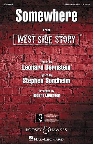 Leonard Bernstein - Somewhere. West Side Story. SATB - Partition - di-arezzo.co.uk