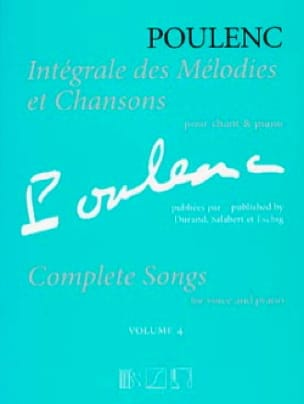 Francis Poulenc - Complete melodies and songs. Volume 4 - Partition - di-arezzo.co.uk
