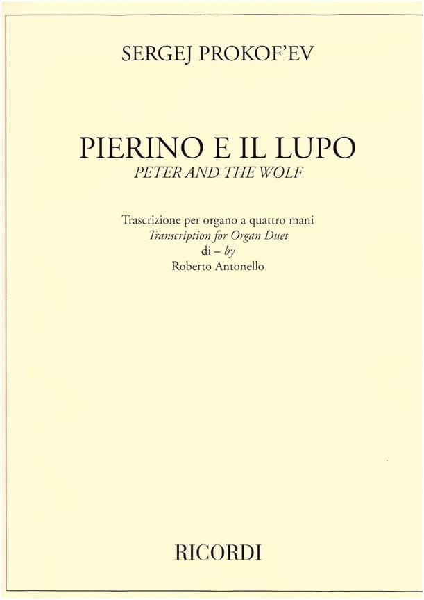 Pierre et le loup - PROKOFIEV - Partition - Orgue - laflutedepan.com