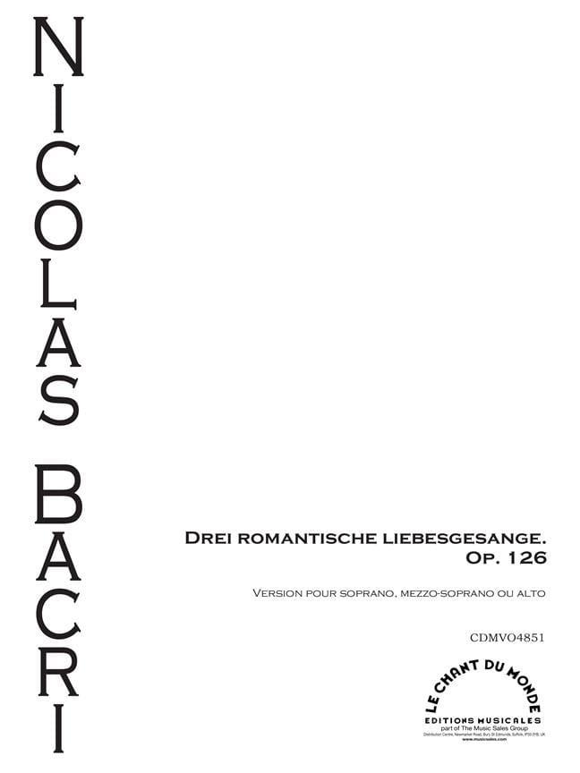 Nicolas Bacri - 3 Romantische Liebesgesange Op. 126 - Partition - di-arezzo.com