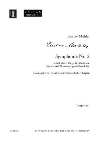 Gustav Mahler - Symphony No. 2 - Chorus alone - Partition - di-arezzo.com