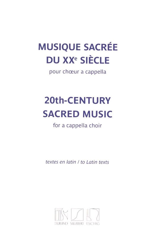 Musique sacrée du 20ème siècle - Partition - laflutedepan.com