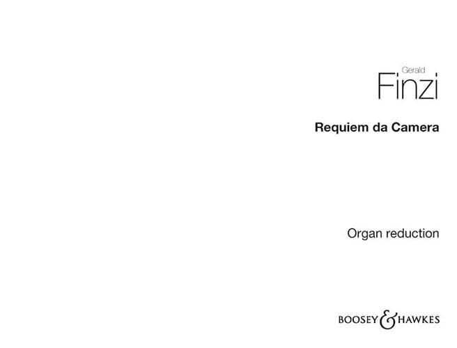 Gerald Finzi - Requiem da camera - Partition - di-arezzo.fr