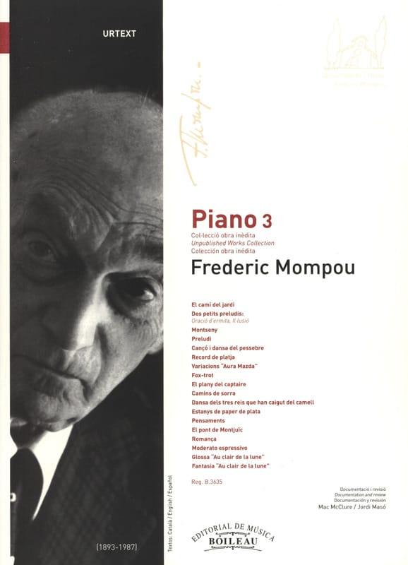 Piano. Volume 3 - Federico Mompou - Partition - laflutedepan.com