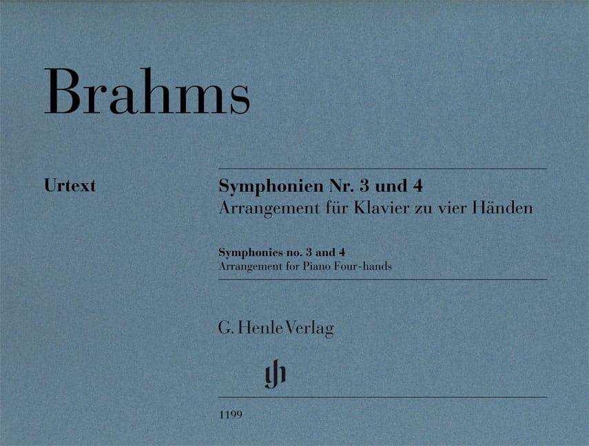 Symphonies n° 3 et n° 4. 4 mains - BRAHMS - laflutedepan.com