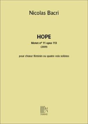 Nicolas Bacri - Hope - Partition - di-arezzo.com