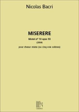 Nicolas Bacri - Miserere - Partition - di-arezzo.com