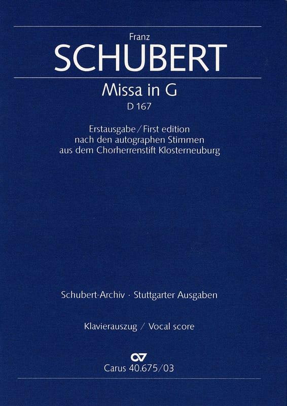 Messe En Sol Majeur D 167 - SCHUBERT - Partition - laflutedepan.com
