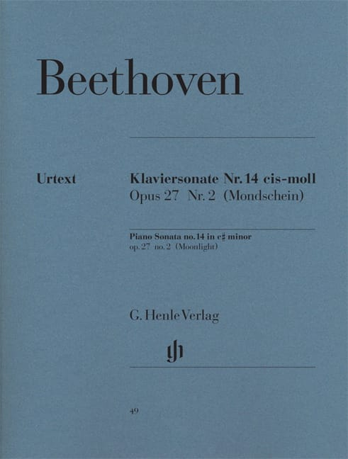 BEETHOVEN - Piano Sonata No. 14 in C sharp minor Opus 27 N ° 2 - Partition - di-arezzo.com
