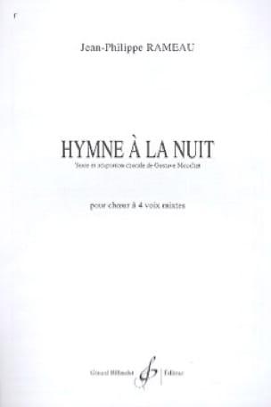 Jean-Philippe Rameau - Hymne A la Nuit. 4 Voix Mixtes - Partition - di-arezzo.fr